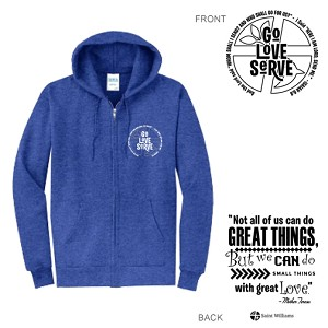 St. Williams Heather Blue Full Zip Hood  Adult & Youth